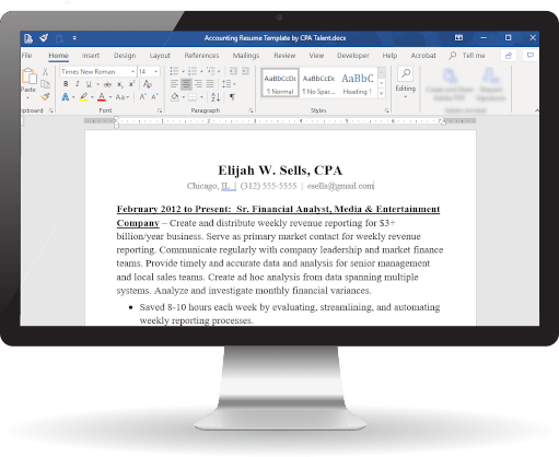 CPA Resume Template in MS Word
